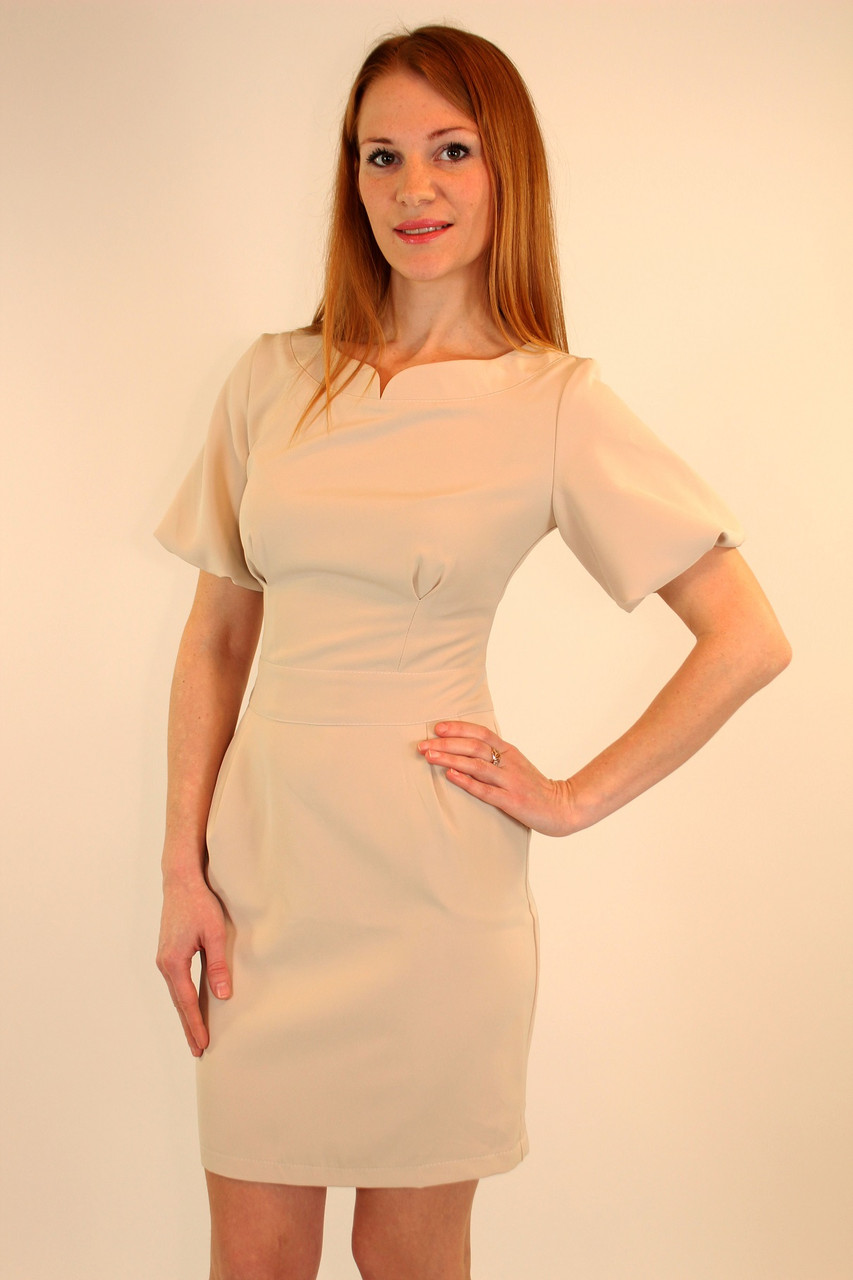 Модное женское платье 42-48 р ( бежевый, коралловый, бирюзовый )