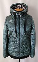 Женская весенняя куртка  больших размеров  48-58 зеленый