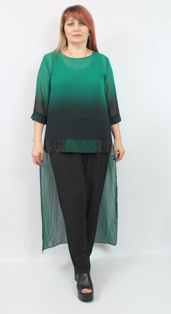 Турецкий нарядный женский брючный костюм с асимметричной туникой, размеры 52 54 56