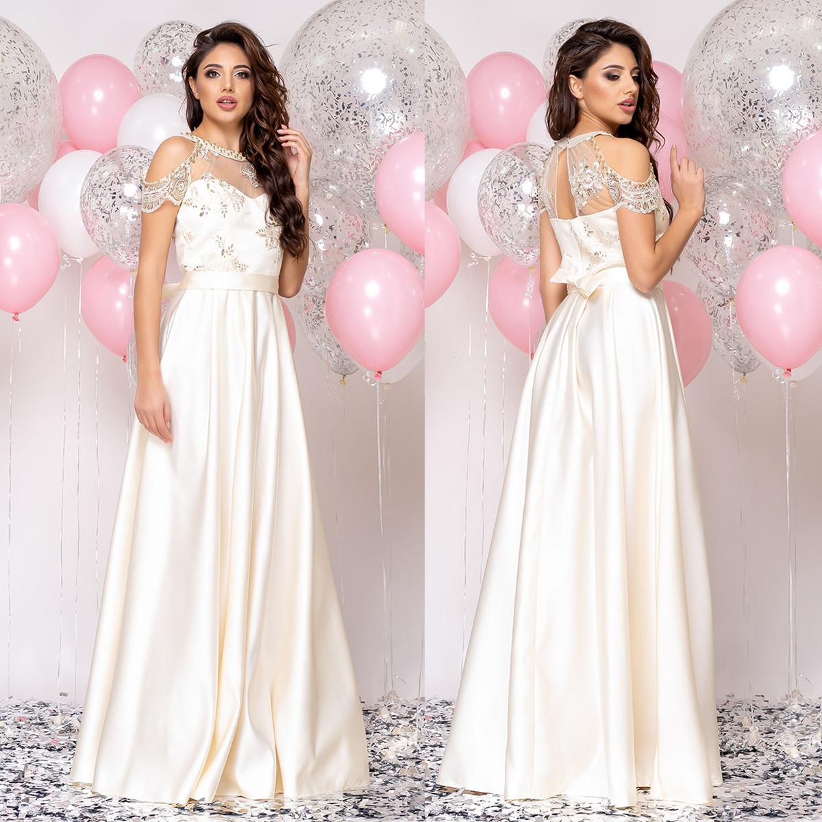 """Шикарное вечернее, свадебное платье в пол из атласа """"Милагрес"""""""