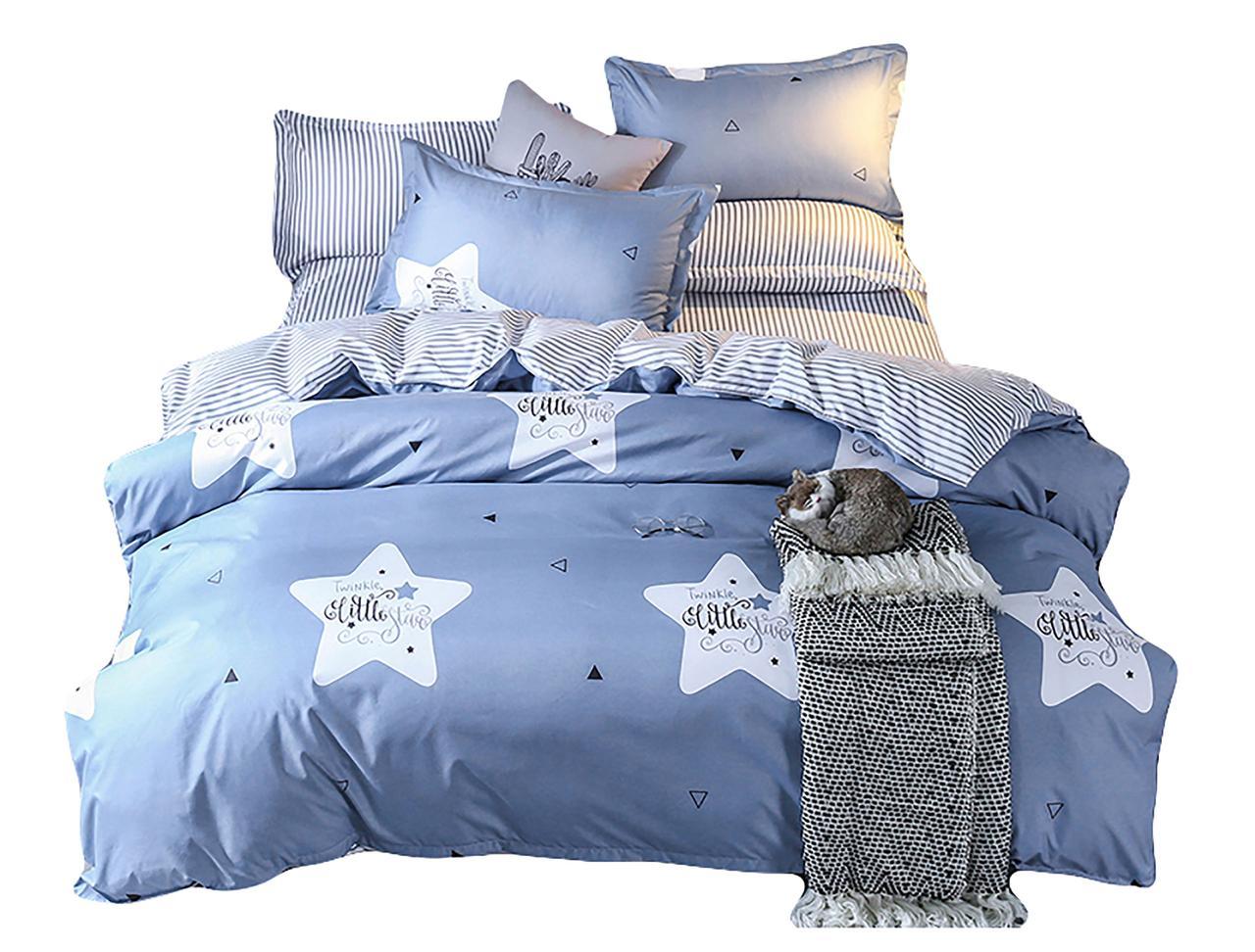 Комплект постельного белья Хлопковый Молодежный 075 M&M 5880 Синий, Белый