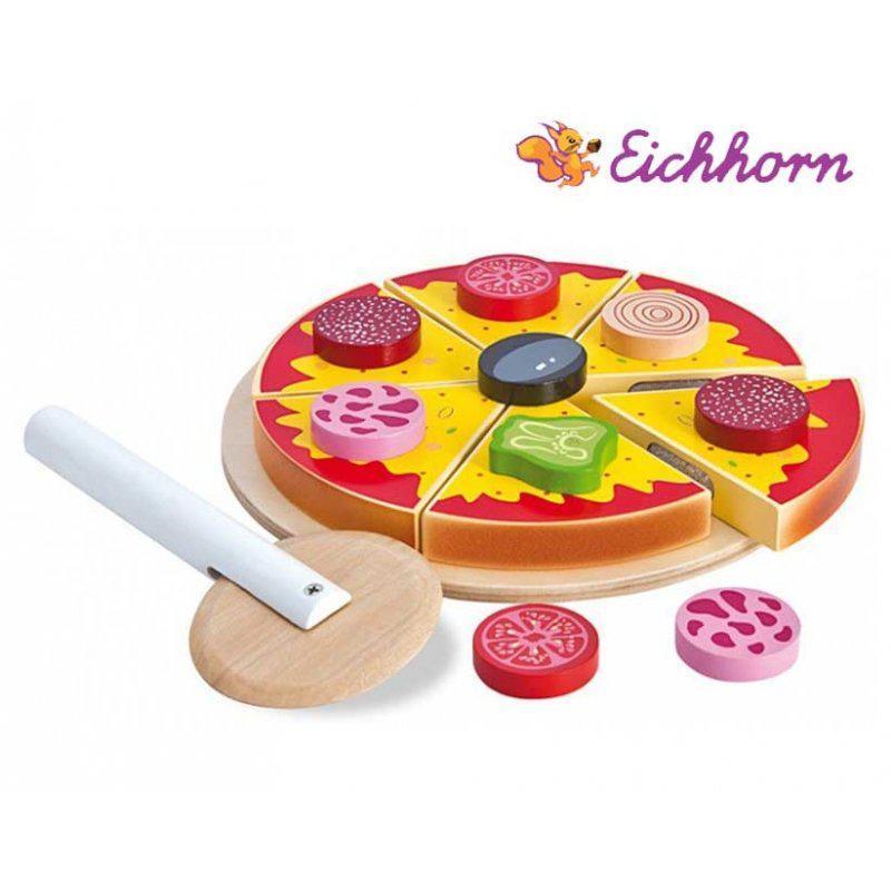 Дитяча іграшкова піца нарізна дерев'яна Eichhorn 3730 для дітей