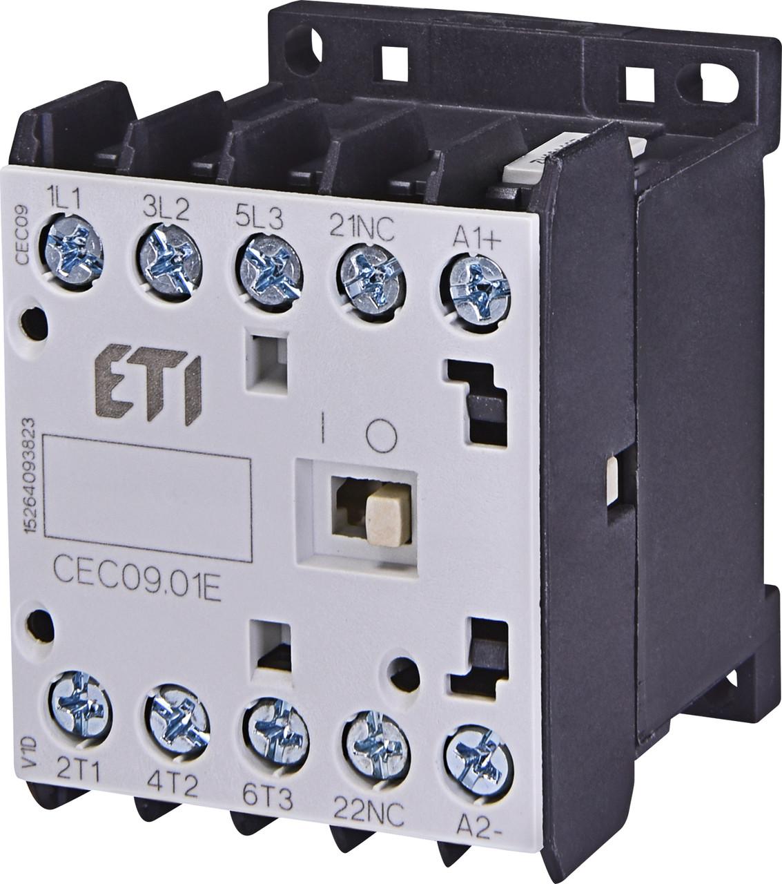 Контактор миниатюрный ETI CEC 09.10 9А 230V AC 3NO+1NC 4kW 4641072 (силовой, 20A AC1, 9A AC3)