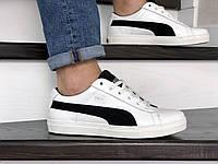Мужские кроссовки Puma Suede (мужские, демисезонные ,кожаные,  белые с черным)