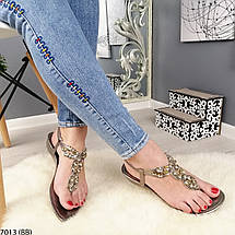Босоножки со стразами без каблука, фото 2