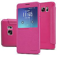 Кожаный чехол Nillkin Sparkle для Samsung Galaxy Note 5 N920 розовый, фото 1