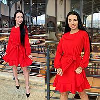Красное коктейльное платье с рукавами
