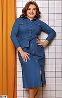 Платье женское стильное весна-осень джинс-бенгалин 48-58р.,цвет светло-синий