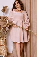 Платье женское демисезонное свободного кроя вельвет 48-58р.,цвет светло-бежевый