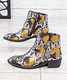 """Женские демисезонные кожаные ботинки с принтом """"под рептилию"""", фото 2"""