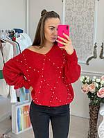 Женскийвязанный свитер с жемчугом, в расцветках. В-3-0220
