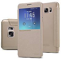 Шкіряний чохол Nillkin Sparkle для Samsung Galaxy Note 5 N920 золотистий, фото 1