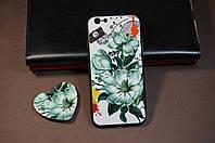 Чехол бампер силиконовый Apple Iphone 6/6S айфон IPhone с рисунком + popsoket + стекло в Подарок