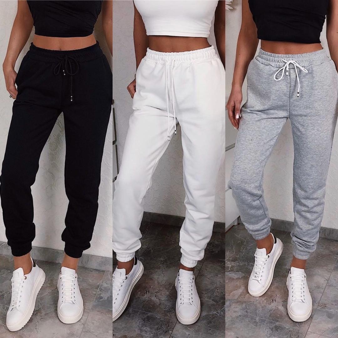 Штаны женские спортивные, стильные, повседневные, модные, двунить, на манжете
