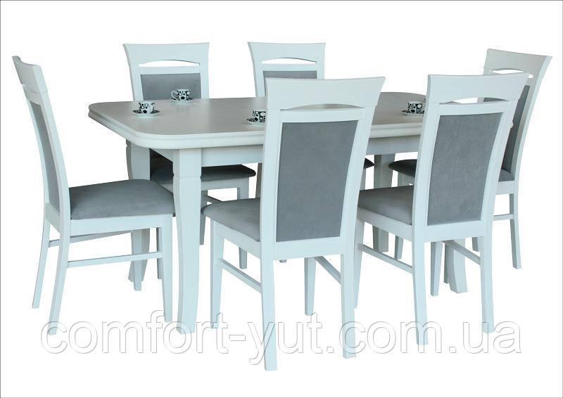 Стол Премьер белый 160(+40)*90 обеденный раскладной деревянный