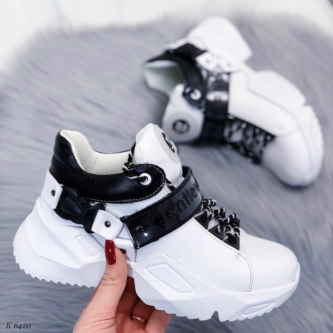 Высокие кроссовки из натуральной кожи