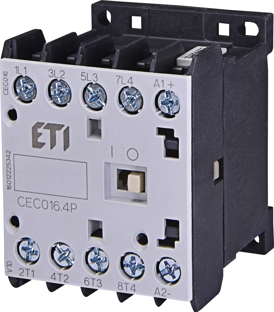 Контактор миниатюрный ETI CEC 16.4P 16А 230V AC 4NO 7,5kW 4641203 (силовой, 22A AC1, 16A AC3)