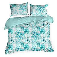 Комплект постельного белья Сатин Nova Print Aquarell M&M 2701 Зеленый, Белый