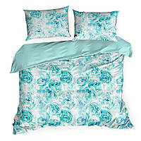 Комплект постельного белья Сатин Nova Print Aquarell M&M 2732 Зеленый, Белый