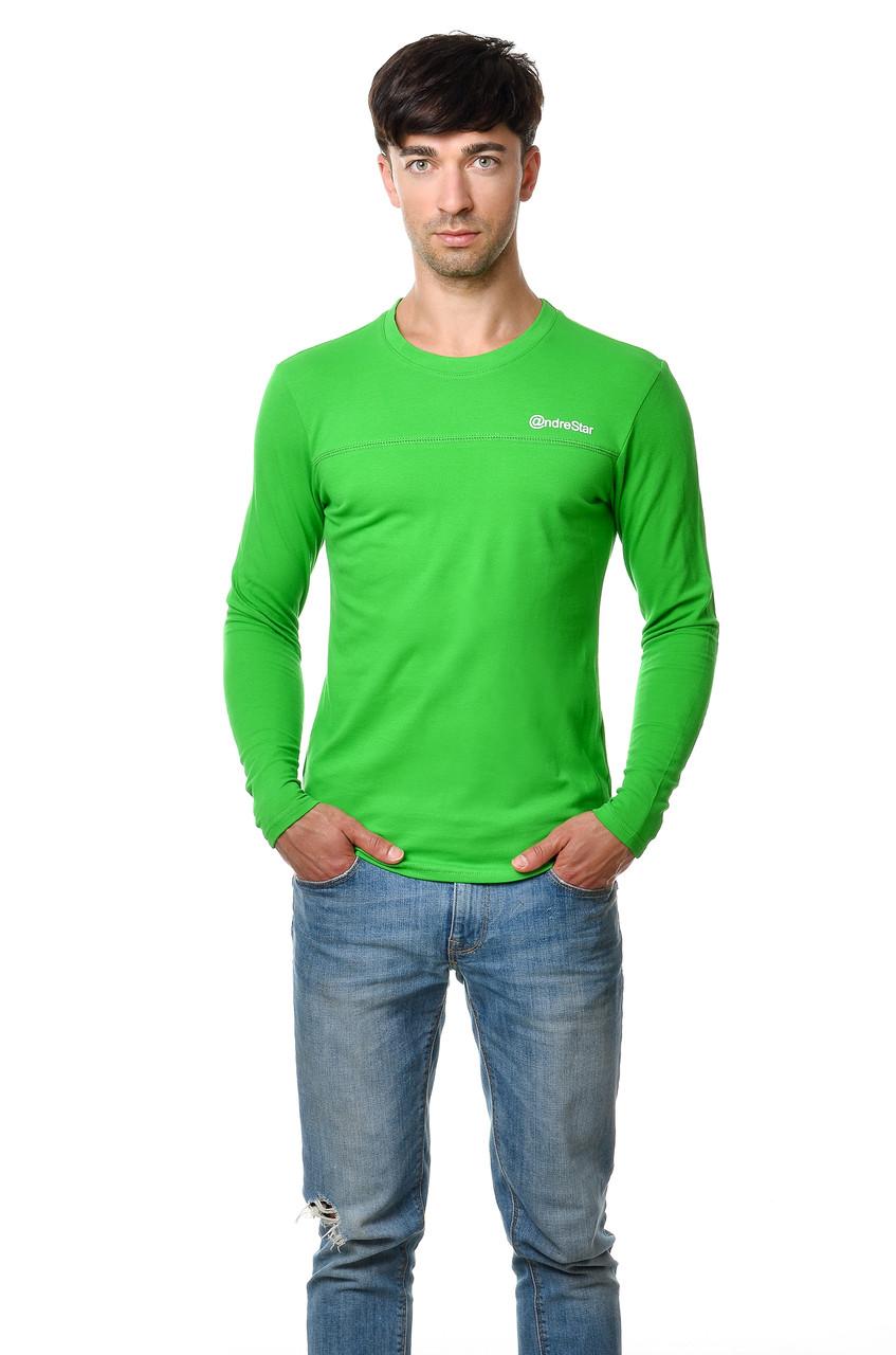 Хлопковая мужская футболка с длинным зауженным рукавом салатовая