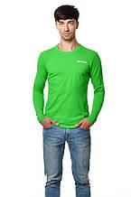 Бавовняна чоловіча футболка з довгим завуженим рукавом салатова