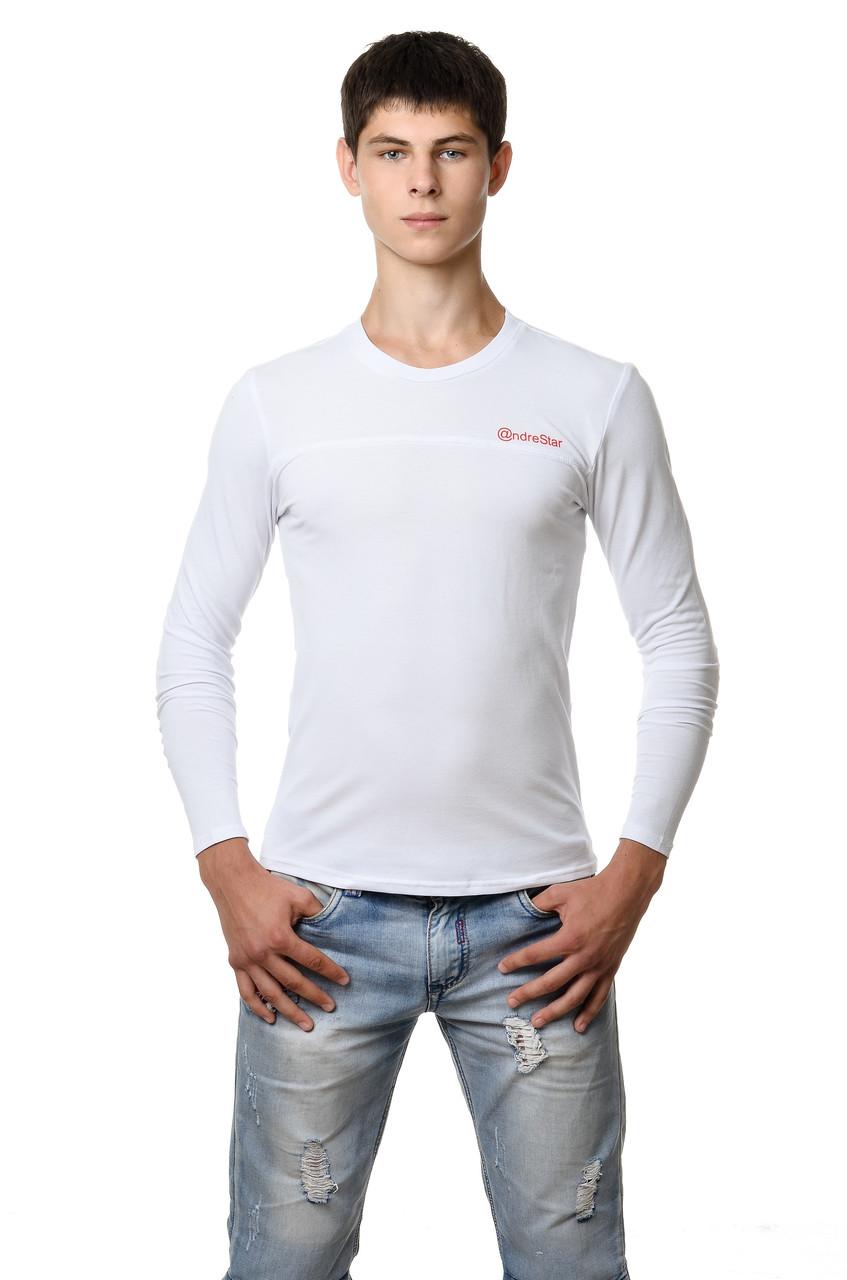 Хлопковая мужская футболка с длинным зауженным рукавом белая