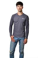 Мужская футболка с длинным зауженным рукавом хлопковая  серая