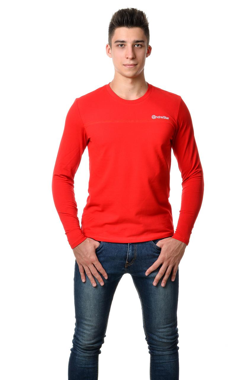Мужская футболка с длинным зауженным рукавом хлопковая красная