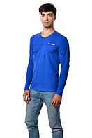 Яркая футболка мужская с длинным зауженным рукавом хлопковая цвета электрик
