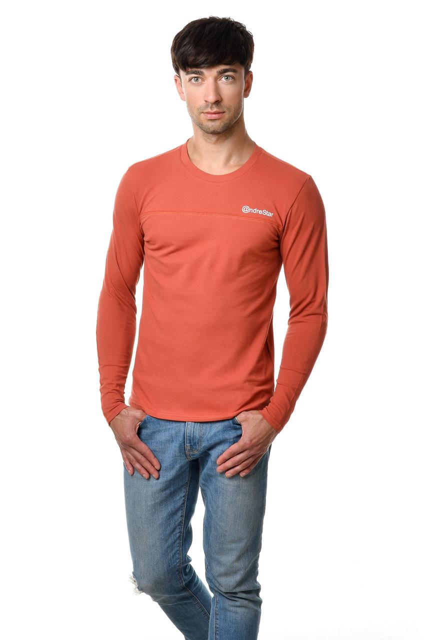 Легка футболка чоловіча з довгим завуженим рукавом бавовняна оригінального бурштинового кольору