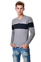 Оригінальна бавовняна футболка чоловіча з довгим завуженим рукавом з синьою смугою на грудях і рукав