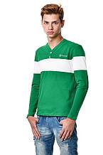Бавовняна чоловіча футболка з довгим завуженим рукавом з смугою на грудях і рукавах білого кольору зеленої