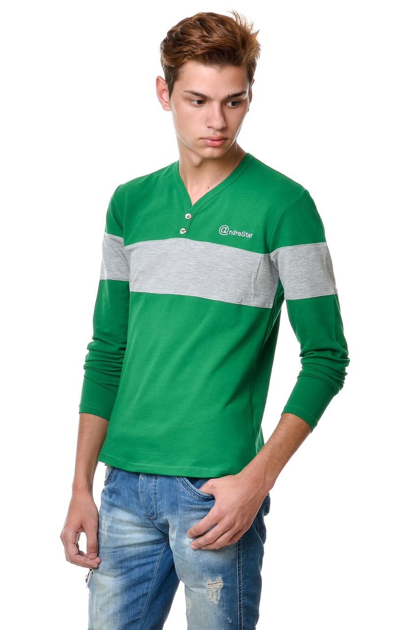 Футболка c V- образным вырезом мужская  с длинным зауженным рукавом  с  полосой на груди и рукавах и пуговицами  цвета зеленой травы