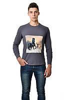 """Модная мужская хлопковая футболка с длинным  зауженным рукавом  с интиресным принтом """"кони""""на груди серая"""