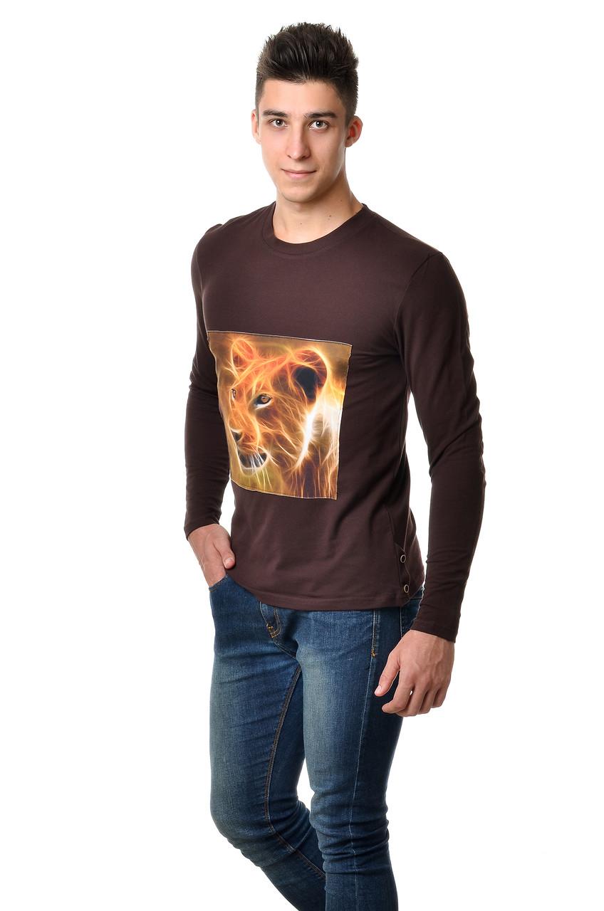Оригинальная  мужская футболка с принтом льва на груди с длинным зауженным рукавом коричневая