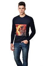 Оригінальна чоловіча футболка з принтом леопарда на грудях з довгим завуженим рукавом чорна