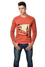 """Оригінальна чоловіча футболка з принтом """"лондон"""" на грудях з довгим завуженим рукавом бурштинова"""