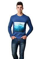 Хлопковая футболка мужская с длинным  зауженным рукавом  с интиресным принтом острова на груди синяя
