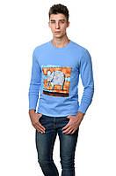 Оригинальная  мужская футболка с принтом слона на груди с длинным зауженным рукавом голубая