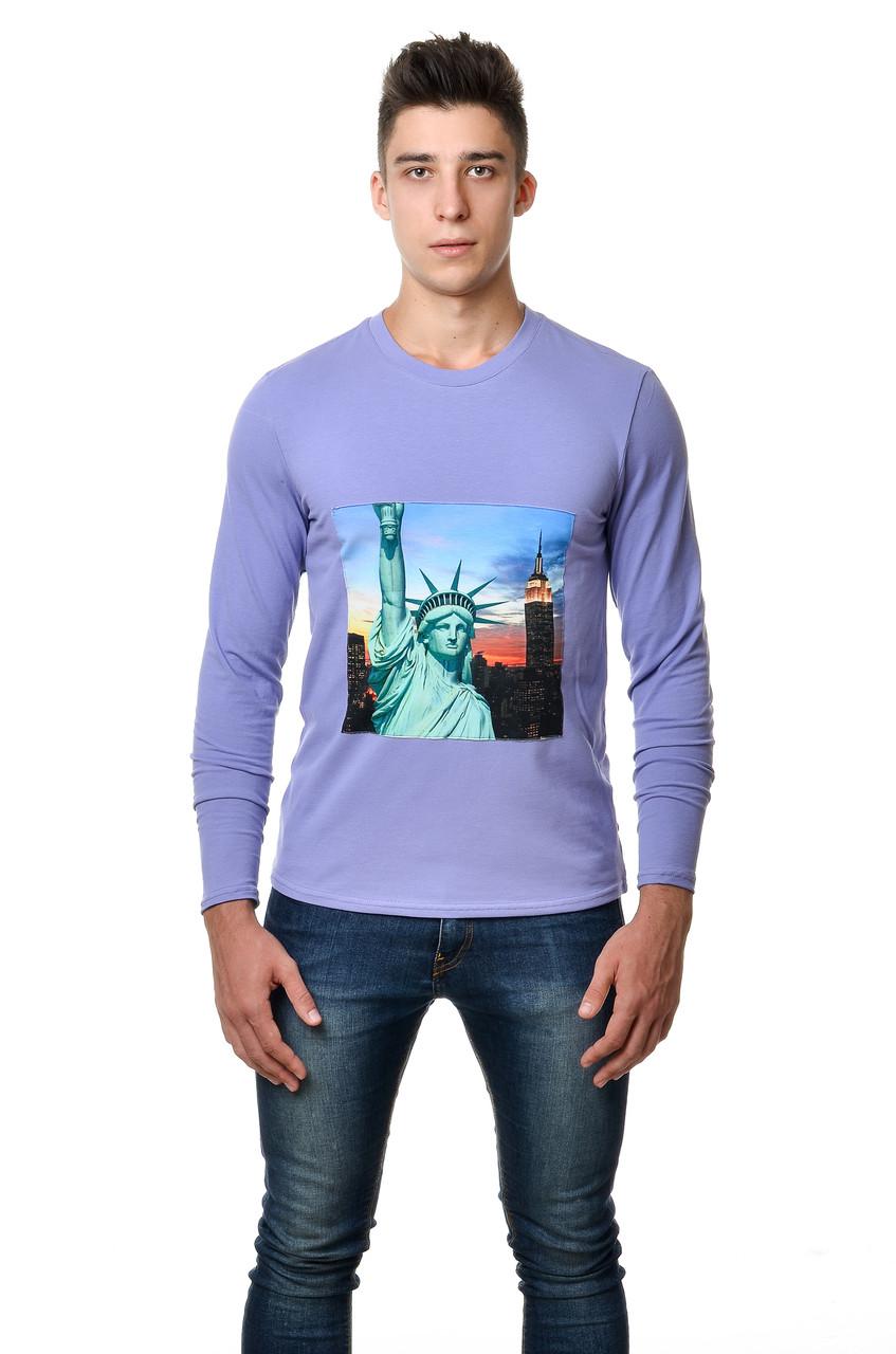 Модная мужская хлопковая футболка с длинным  зауженным рукавом  с интиресным принтом статуи свободы на груди сиреневая