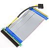 Шлейф Riser , Райзер PCI-E 16x -> 16x гибкий с питанием MOLEX ,  удлинитель переходник