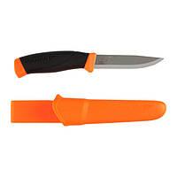 Нож Morakniv Companion F Orange нержавеющая сталь прорезиненная рукоятка с оранжевыми накладками
