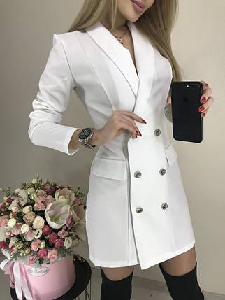 Белое платье-пиджак с длинным рукавом, фото 2