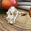 Серебряное кольцо с золотом Лира вставка белые фианиты вес 2.8 г размер 18, фото 3