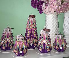 Сувенірний подарунковий набір різьблених свічок ручної роботи