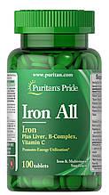 Витаминный комплекс с железом Puritan's Pride Iron All 100 таб