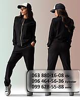Элегантный женский спортивный костюм черного цвета