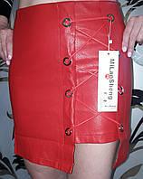 Женская кожаная юбка со шнуровкой, красная, S