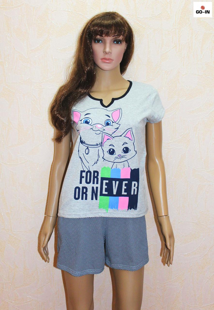 Летняя пижама женская серая футболка с шортами трикотажная р.40-58