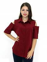 Рубашка блуза с прорезными плечами бордовая